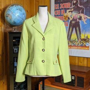 Vintage 1980s/80s Elegant Lime Green Blazer